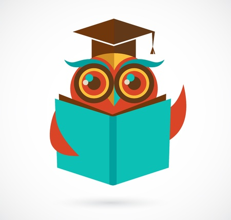 back to school owl with book and graduation cap, illustration illustration