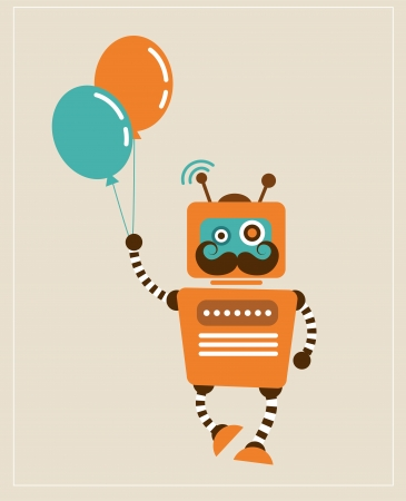 Hipster Vintage retro Robot with balloons  photo