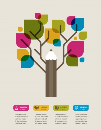 colorful education tree with pencil and text space Stock Photo - 20893762