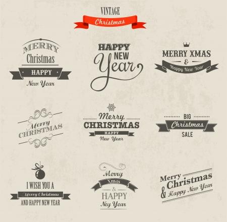 Christmas set - labels, emblems and decorative elements photo