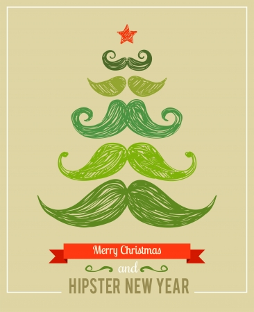 Hipster New Year and merry Christmas, vector illustration illustration