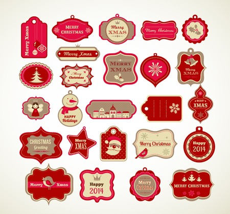 christmas ornaments: Christmas set - labels, tags and decorative graphic elements