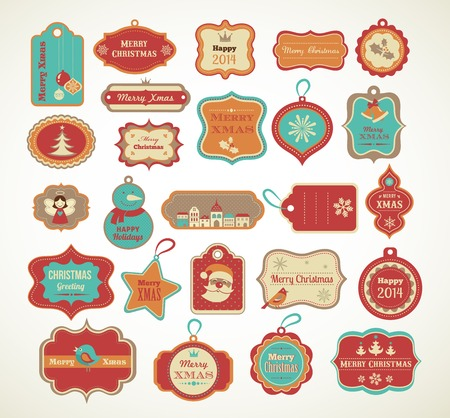 tags: Christmas set - labels, tags and decorative graphic elements