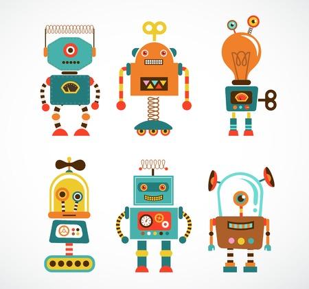 robot cartoon: Set of cute vintage robots