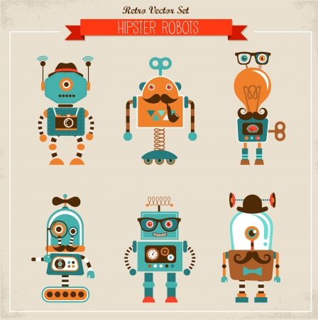 space robot: Set of cute hipster vintage robots