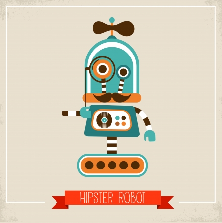 Hipster robot toy icon and illustration illustration