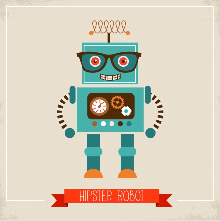robot cartoon: Hipster robot toy icon and illustration