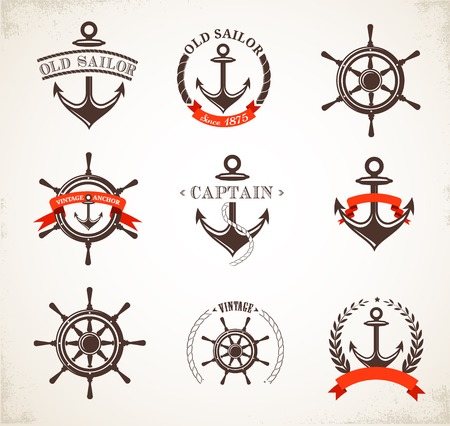 nautical vessel: Set of vintage nautical icons, signs and symbols Stock Photo