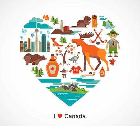 castor: Canada amor - coraz�n con muchos iconos e ilustraciones Foto de archivo