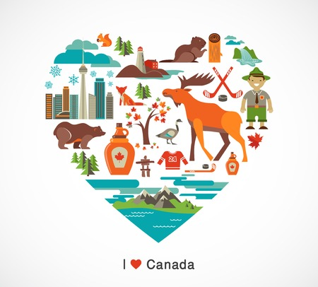 flat leaf: Canada love - heart with many icons and illustrations