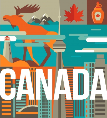 toronto: Canada love - heart with many icons and illustrations