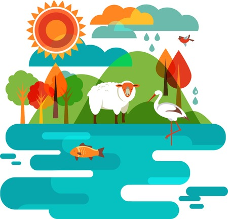river: Animals Background - Illustration of nature, sheep, stork and fish Stock Photo