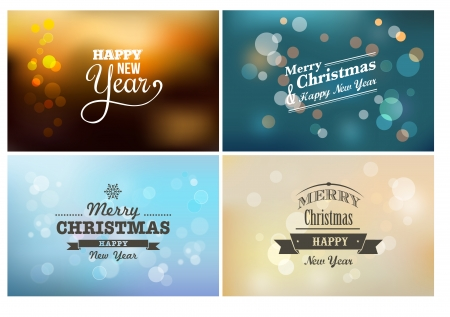 Light bokeh, magic Christmas lights - vector background set photo