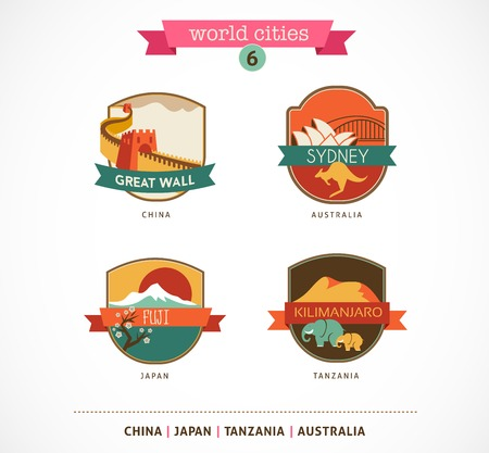 World Cities labels and symbols - Sydney, Great Wall, Fuji, Kilimanjaro - 6 photo