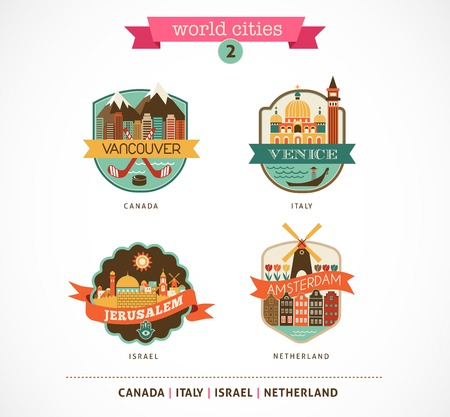 World Cities labels and symbols - Amsterdam, Venice, Jerusalem, Vancouver - 2 photo