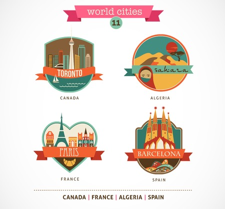 World Cities labels and symbols - Paris, Toronto, Barcelona, Sahara - 11 photo