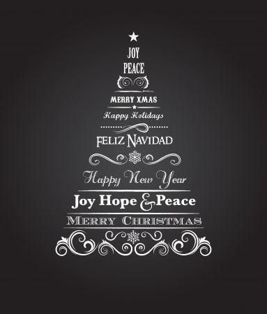 Vintage Christmas tree with text and scroll elements photo