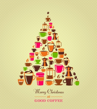 Coffee icons Christmas tree photo