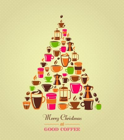 coffee tree: Coffee icons Christmas tree Stock Photo