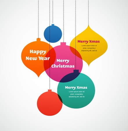 Christmas ornaments - colorful background and greeting card