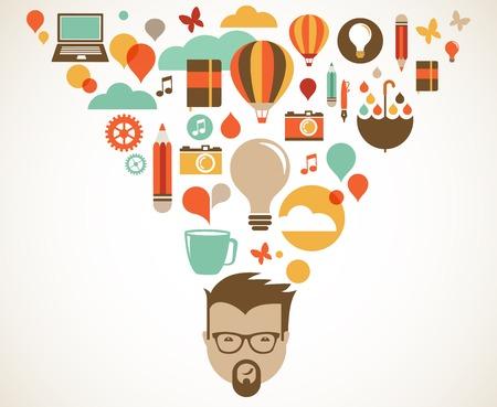 dea: Design, creative, idea and innovation concept illustration Stock Photo