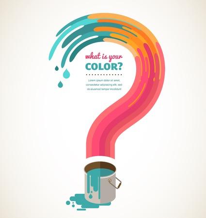 dea: what color do you love - question mark, color splash, creative concept
