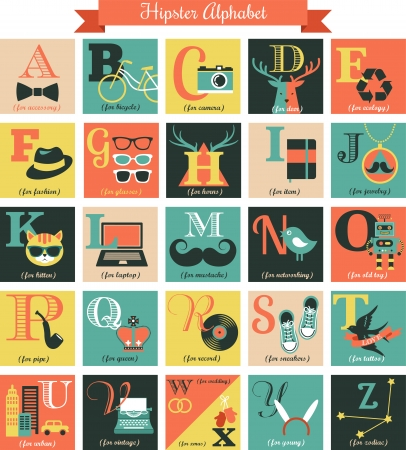 lomo: Hipster alphabet letters - concept set with icons
