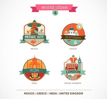 agra: World Cities labels and symbols - Santorini, London, Agra, Mexico - 4