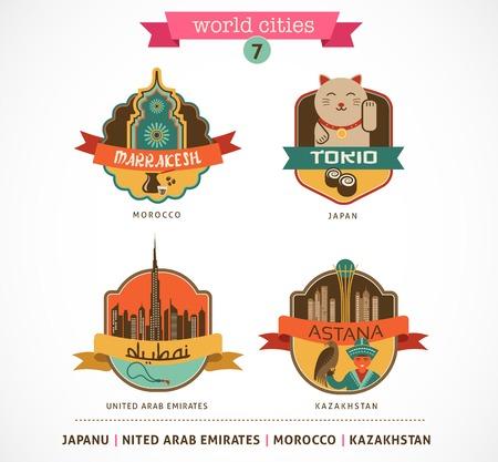 astana: World Cities labels and symbols - Marrakesh, Tokio, Astana, Dubai - 7