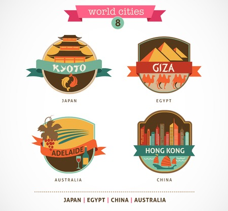 World Cities labels and symbols - Kyoto, Giza, Adelaide, Hong Kong,  - 8 photo