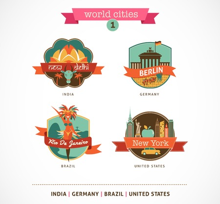 new delhi: World Cities labels and symbols - Delhi, Berlin, Rio, New York - 1