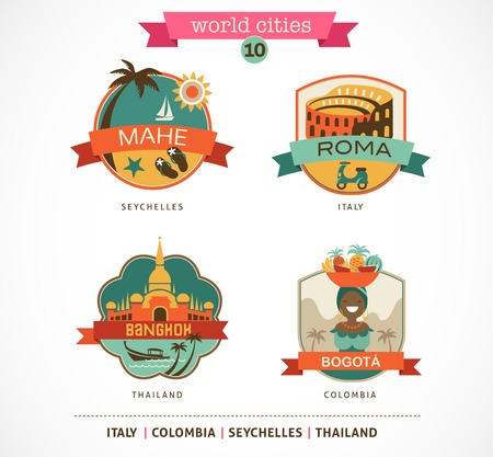 World Cities labels and symbols - Mahe, Roma, Bangkok, Bogota - 10 photo