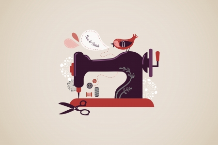 sewing pattern: Vintage sewing machine background with bird and flowers Illustration