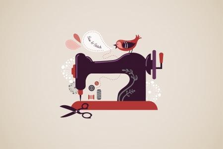 n hmaschine: Weinlese-N�hmaschine Hintergrund mit Vogel und Blumen Illustration
