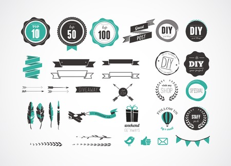 Set of retro vintage badges, feathers, blog elements and labels, icons and ribbons