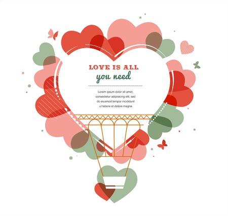 심장 모양의 뜨거운 공기 풍선, 발렌타인 데이에 사랑 일러스트