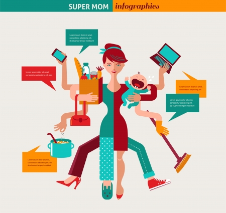 Super Mom - mother with baby, working, coocking, cleaning and make a shopping Vector