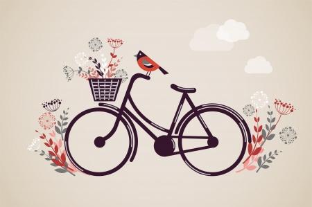 Rétro vélo avec des fleurs et des oiseaux