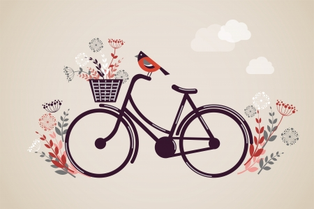 flower baskets: Vintage Retro Bicycle with flowers and bird Illustration
