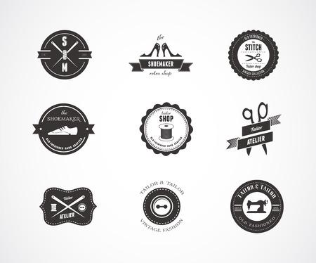 Vintage naaien labels, elementen en badges met retro stijl ontwerp