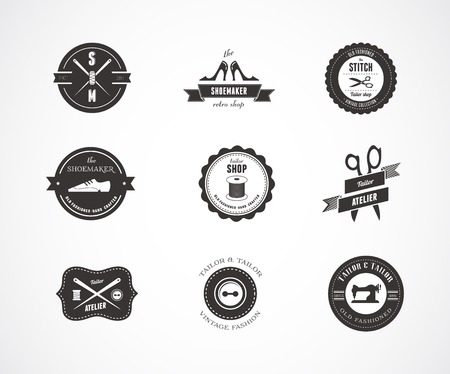 sewing machines: Vintage sewing labels, elements and badges with retro styled design Illustration