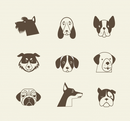 Pets icons - cats and dogs Vector