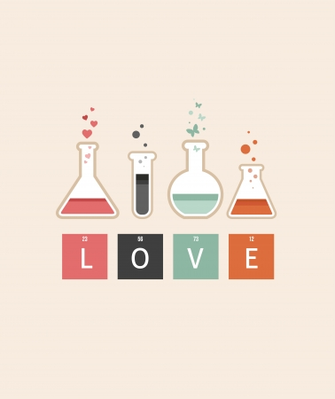 Chemistry of Love, Valentines day card Vector