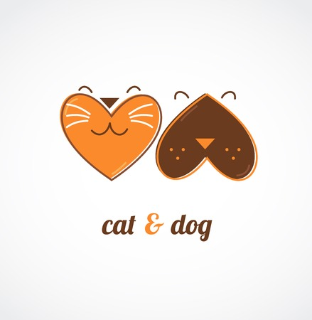 cat dog: Pets icons - cats and dogs love