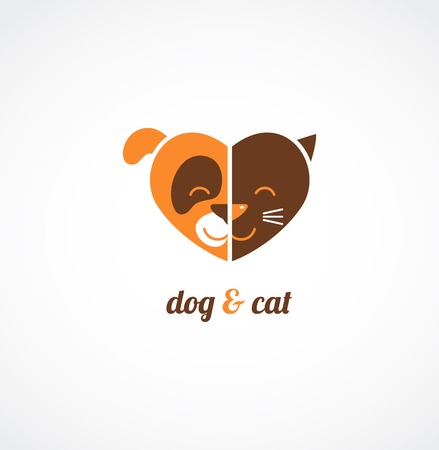 Pets icons - cats and dogs love Vector