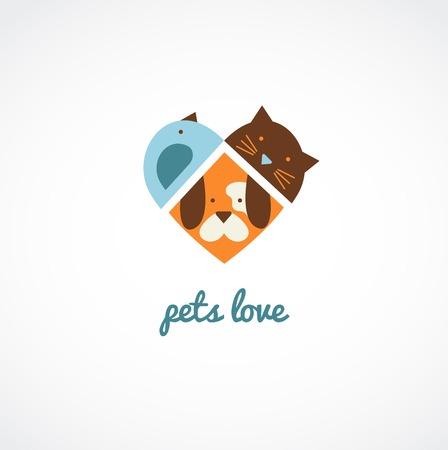 silhouette chat: Animaux icônes vectorielles - les chats et les chiens aiment