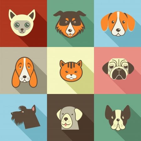 dog poop: Pets vector icons - cats and dogs Stock Photo