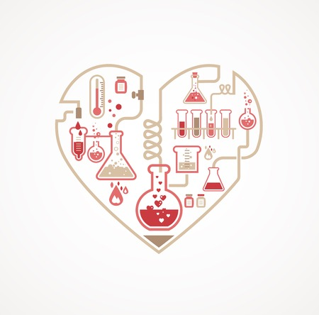 Chemistry of Love, vector background, Valentines day card Illustration