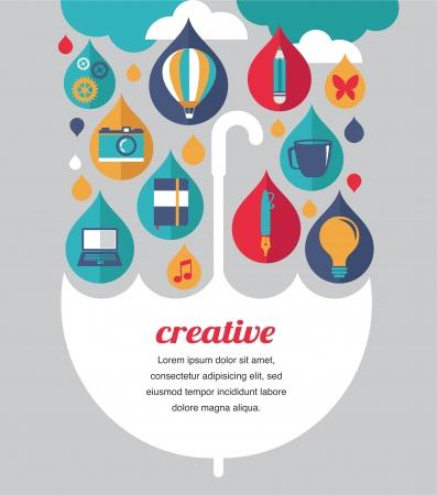 creative umbrella - idea and design concept illustration