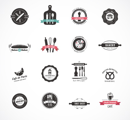 bakery shop: Set of vintage restaurant and food badges labels and icons